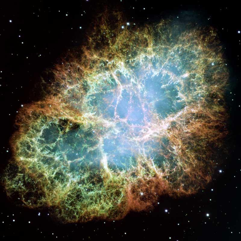 Der Krebsnebel, aufgenommen mit dem Weltraumteleskop Hubble. Credit: NASA, ESA, J. Hester and A. Loll (Arizona State University)