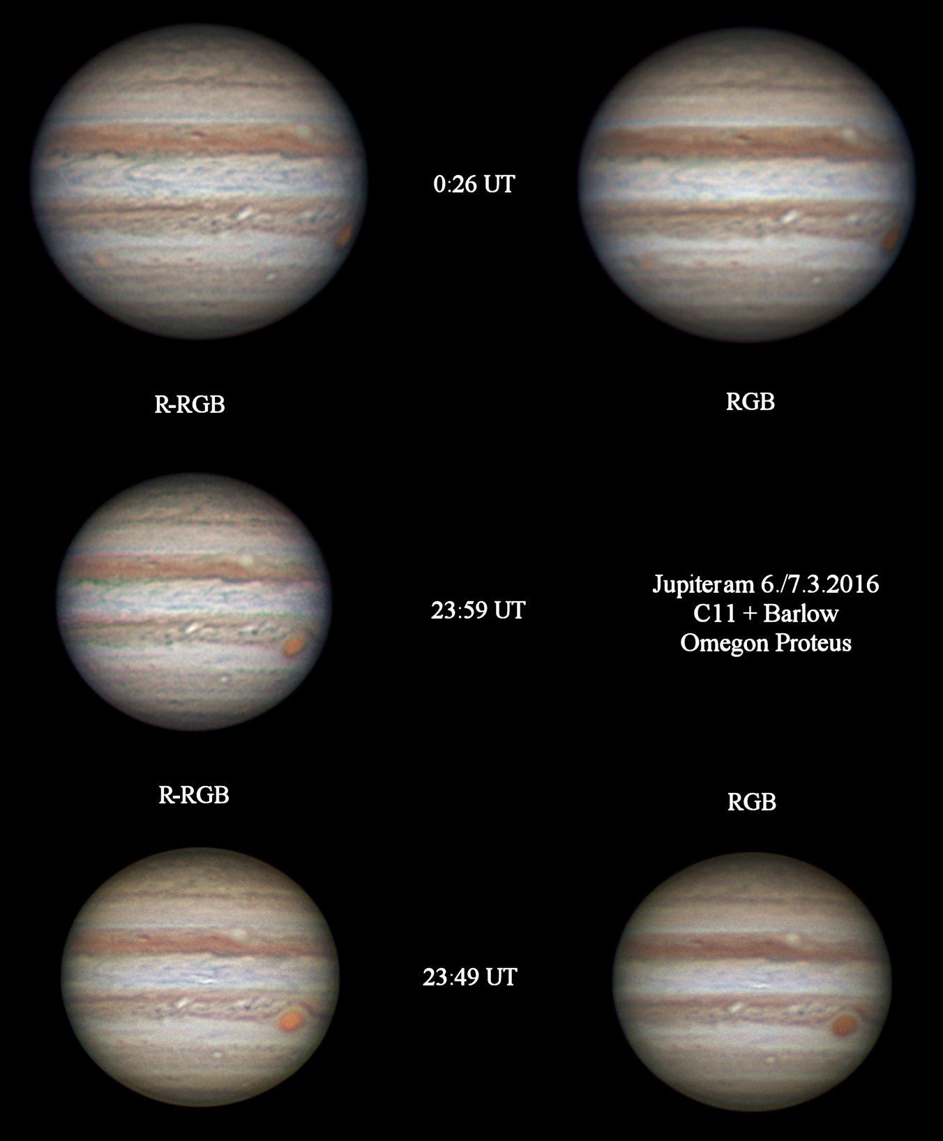 Jupiter, fotografiert mit der Omegon Proteus am Celestron C11
