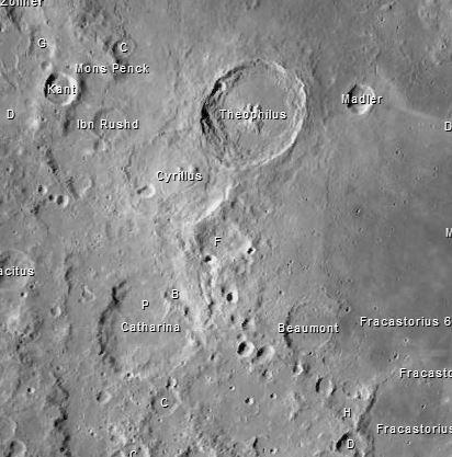 Die Mondkrater Theophyllus, Cyrillus und Catharina